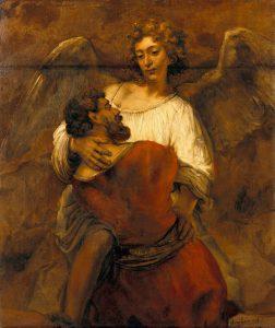 Rembrandt: Jacob worstelt met de engel